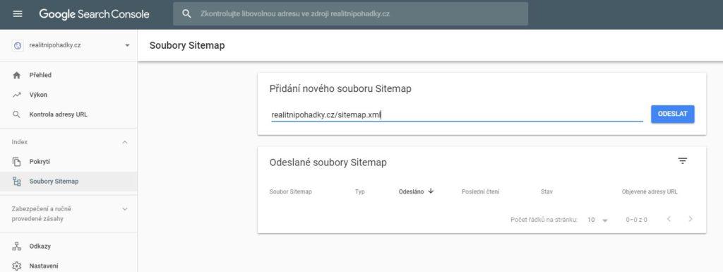 Nahrání sitemap.xml