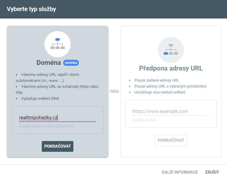 Ověření domény Search Console