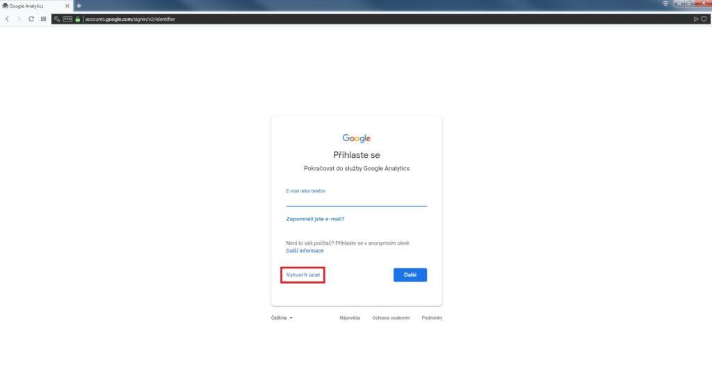 vytvoření google účtu