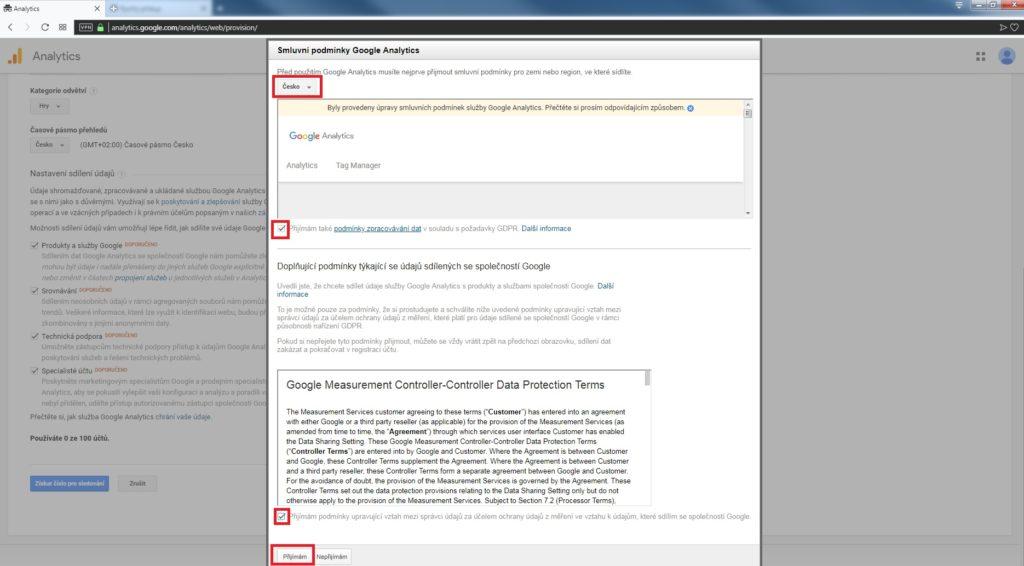 podmínky Google Analytics