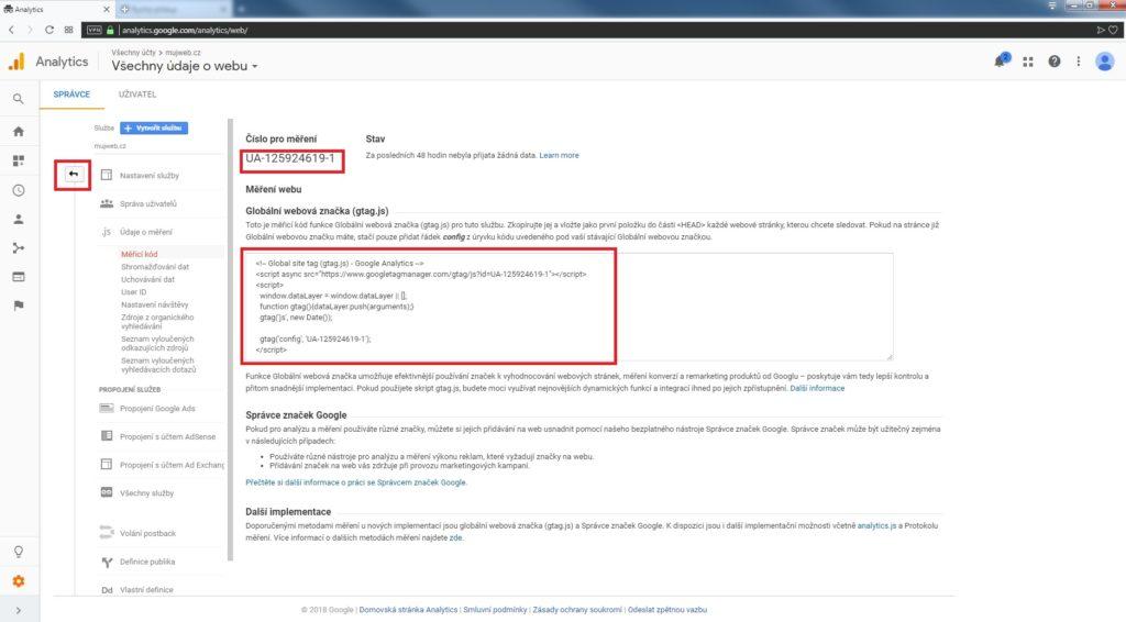 Měřící kód Google Analytics