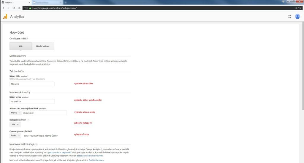 registrace Google Analytics účtu