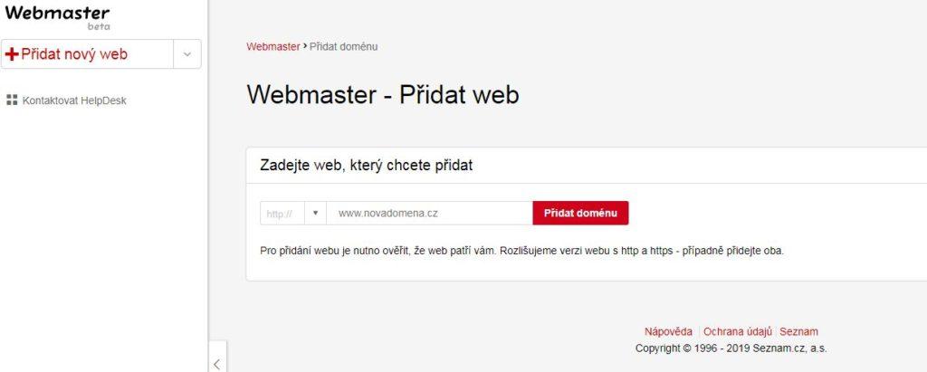 Přidat web do Seznam Webmaster