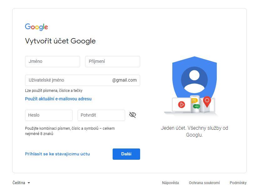 založení google účtu